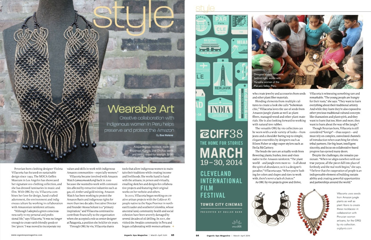 Organic Spa Magazine article on ORG by vio boho jewelry